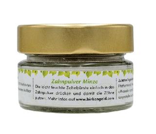 Birkengold Zahnpulver Minze Glas