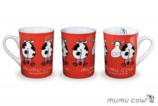 CUP RED MUMU COW 10cm PORCELAINE