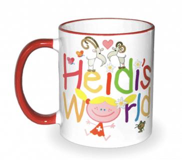 WHITE MUG 325ml RED HANDLE HEIDI'S WORLD