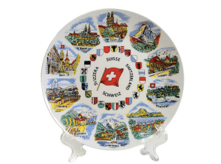 WHITE ROUND PLATE 20cm CH-CITIES