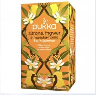 Pukka Zitrone, Ingwer und Manuka Honig Tee, Bio